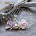 Gorgeous crystal hairgrips women cage face veil flower headpiece bride hairclips leaf fascinator wedding hair accessories xm079