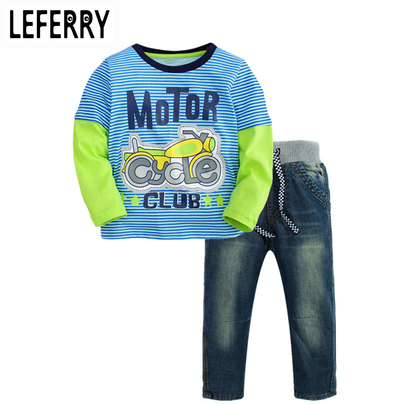 2018 Autumn Kids Clothes Boys Clothing Set Jeans Pants + Striped T-shirt Long-sleeved Children Clothing Boys Clothes Child Set aile rabbit children s clothing suits for boys and girls classic camouflage outdoor suit autumn long sleeved shirt with pants
