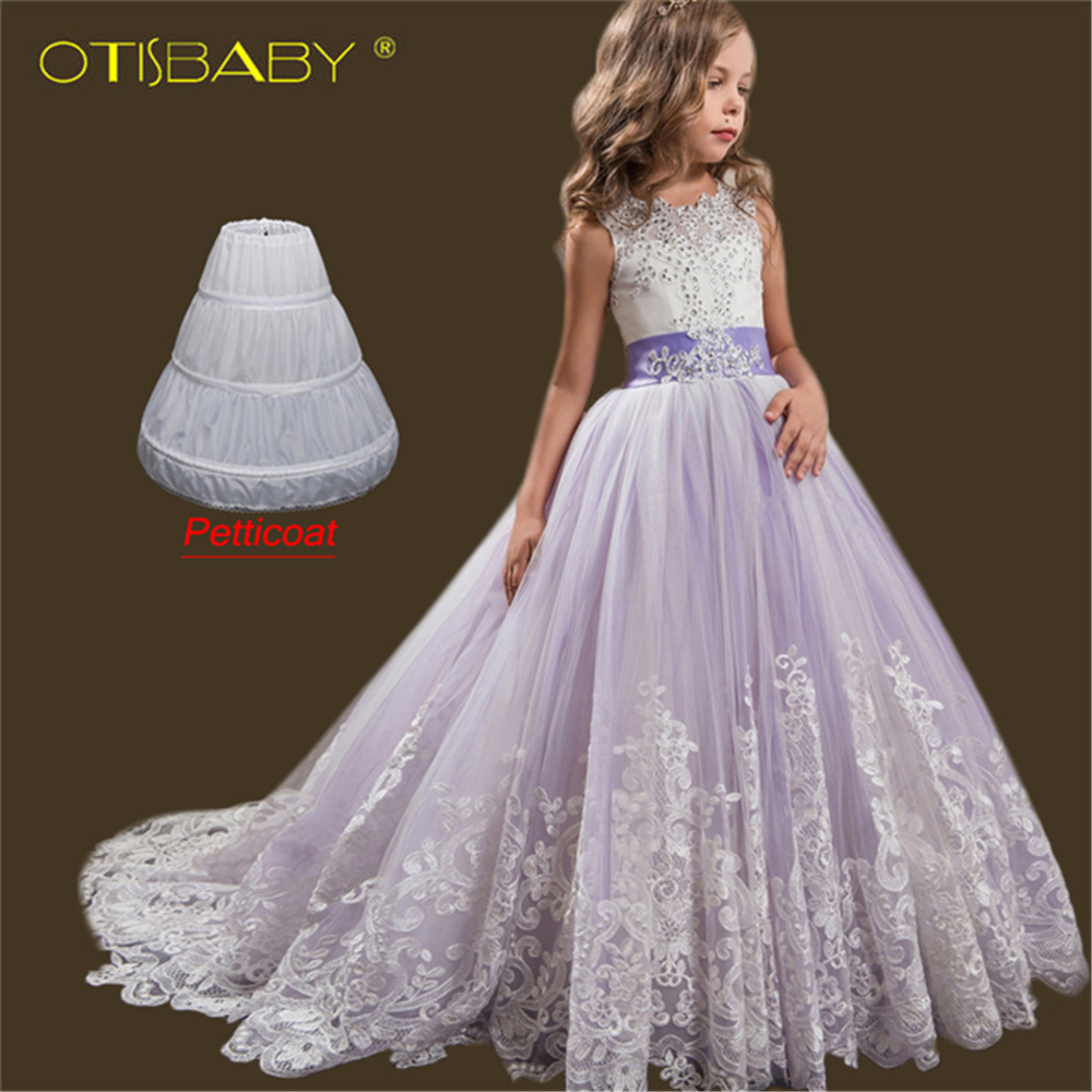 Autumn <font><b>2018</b></font> Floral Girls Birthday Dress Children's Eleghant Wedding Party Chapel Train <font><b>Bridal</b></font> <font><b>Gown</b></font> Fluffy Lace Diamond Dresses image