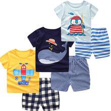 купить 2019 Kids Baby Girls Boys Clothing Set Summer Short Sleeve Cotton Infant Newborn Toddler Clothes Suit Outerwear T-shirts+pant дешево