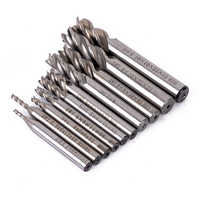 10pcs HSS End Mill Set 4 Flute Straight Shank Milling Cutter Router Bit CNC Tools 2/2.5/3/4/5/6/7/8/9mm