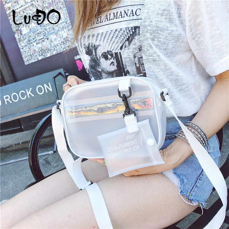 Lucdo PVC Transparan Bening Wanita Bahu Tas Fashion Jelly Tas Selempang Mini Tas Telepon dengan Kartu Pemegang Kecil Kantong sac