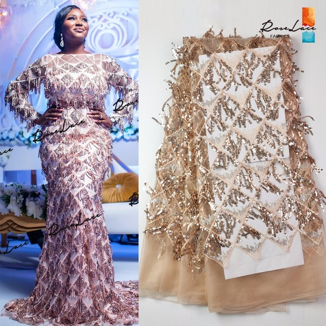 3D Tassel Sequined Mesh Tulle Net Lace Fabric 2019 Latest Design New Nigerian Embroidery Sequns Net Wedding Dress Laces Mateiral