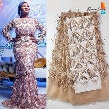3D püskül payetli örgü tül Net dantel kumaş 2019 son tasarım yeni nijeryalı nakış Sequns Net düğün elbisesi dantel malzeme