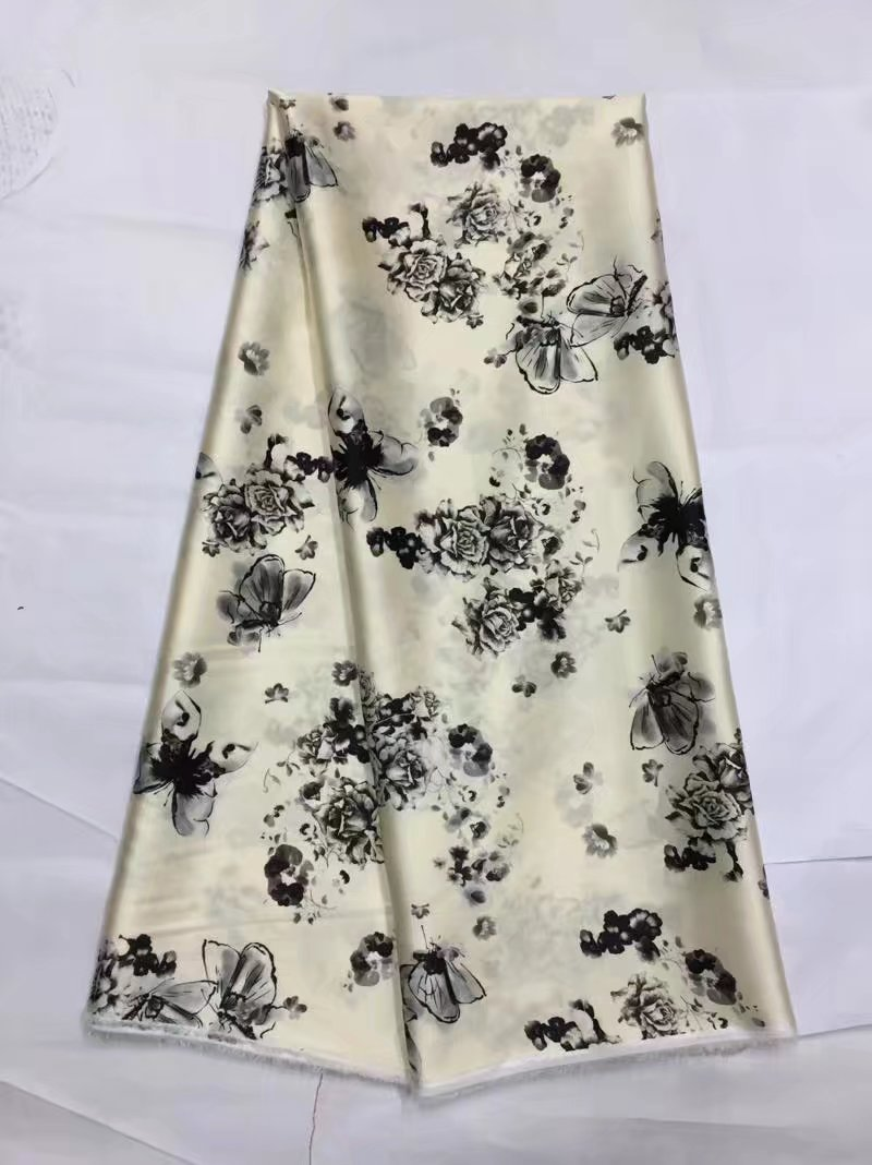 Vincent's fabric boutique Store pure silk  flowers printed soft silk stretch satin fabric for women dress. smoothly nature silk satin fabric tissue 19MM LX0599