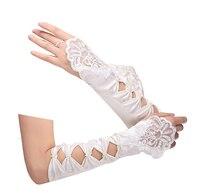 In Stock Beauty  Long  Fingerless Wedding Gloves White Stain Luva Noiva Guantes Wedding