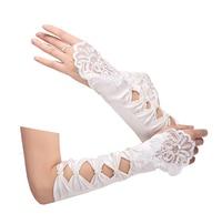 In magazzino bellezza lunghi senza dita guanti da sposa bianco stain luva noiva guanti da sposa