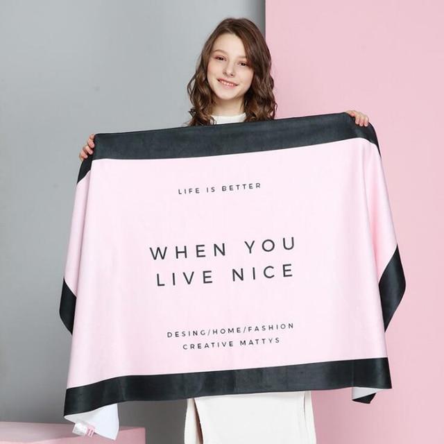 Горячее трикотажное INS шикарное летнее банное полотенце из микрофибры Виктории женская розовая пляжная сушилка для полотенец мочалка бассейн душ для леди 70X140 см