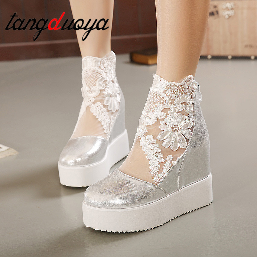 Fashion Sweet Lace Shoes Women Wedge Heels Platform Pumps High Heels Sandals zapatos mujer 2019 Platform casual shoes