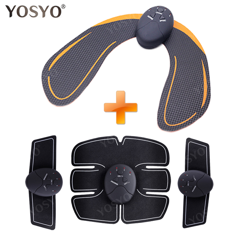 YOSYO 6 PACK EMS Smart Muscle Stimulator Abdominal Trainer Pad + EMS Hip Trainer Buttocks Butt Lifting Slimming Massager Unisex ems hips trainer