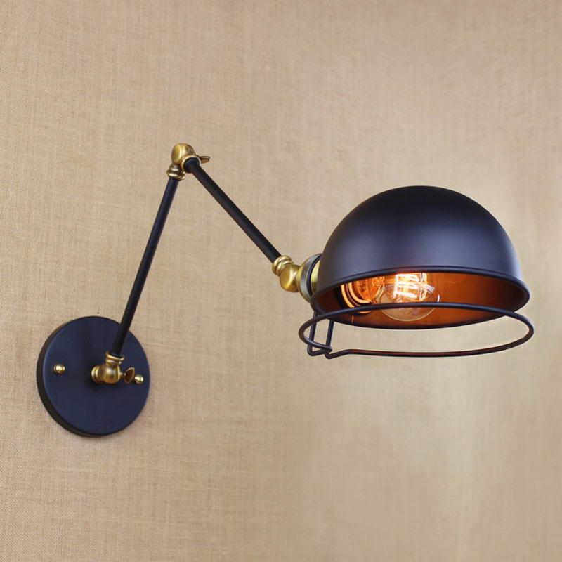 ФОТО Industrial   Metal antique black  swing arm wall  lighting for  Workroom  Loft  Bedroom