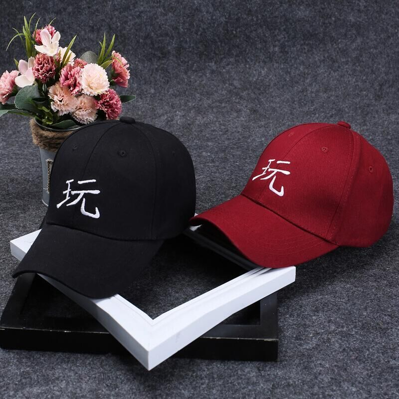 2017 summer new Chinese characters play letter cotton embroidery Baseball Caps leisure hats sport cap for men and women new design harajuku cute fruits embroidery banana oranges women s baseball caps adjustable hats chapeau