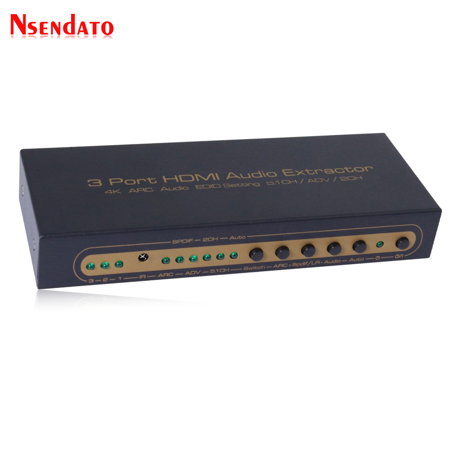 3 In 1 Out HDMI Switch Optical 5.1CH/2CH Audio Converter 3 Port HDMI Audio Extractor Switcher Splitter with Remote control