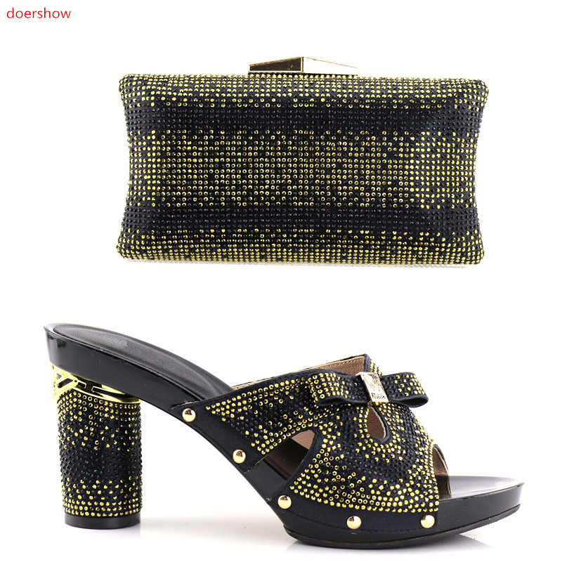 doershow New Arrival Italian Shoes With Matching Bag Set For Wedding Fashion BLACK Women Pumps Shoes and Bags Set!HV1-24 doershow african shoes and bags fashion italian matching shoes and bag set nigerian high heels for wedding dress puw1 19