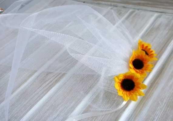 Bekarlığa veda Peçe Gelin Duş Peçe Ayçiçeği Parti Aksesuarı Bandı Peçe Ayçiçeği Gelin Parti Rustik Ayçiçeği Düğün