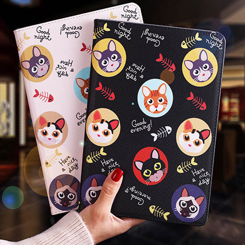 Tablet protective case For ipad pro 10.5 Flip smart stand cover pu leather Cute cat Cartoon illustration Case For ipad pro 10.5