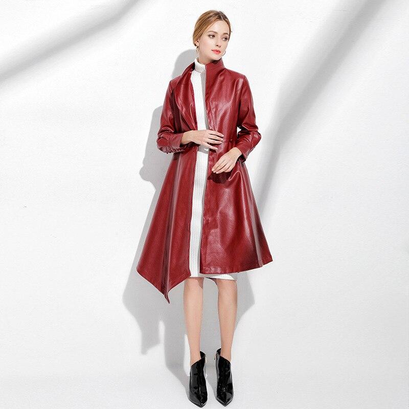 Mode Automne Outwear Bureau Hiver Col En Cuir Turn Long Casual Femmes 2018 Noir Faux Manteaux Manteau down bourgogne Veste Rouge Pu Noir rrdHxwUq5