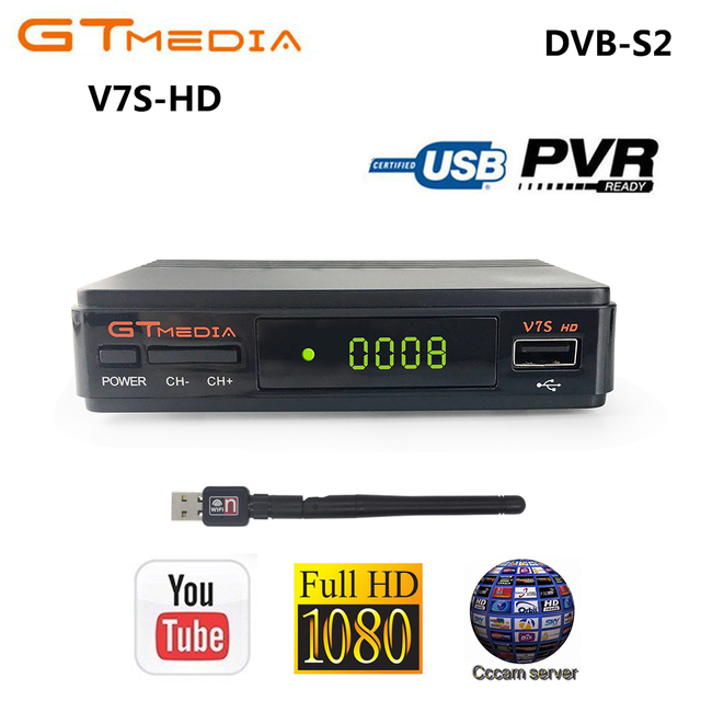 GTMEDIA V7S HD DVB-S2 Satellite Receiver 1080P HD Receptor Support Cccam PowerVu YouTube Biss key TV Turner PK Freesat V7 HD