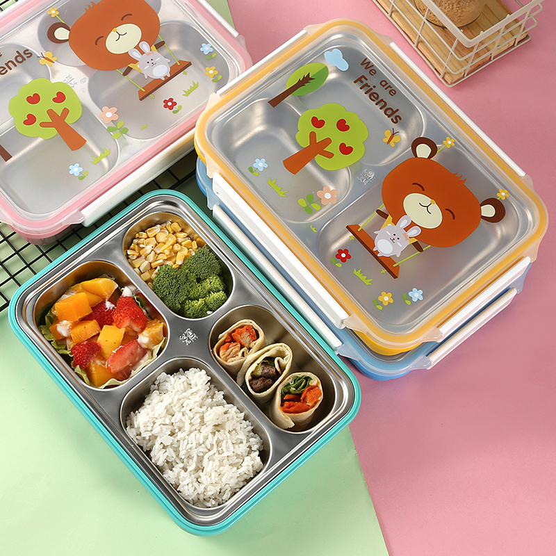 ONEUP Lunch box for kids 304 stainless steel Leak-proof insulation lovely cartoon bento box BPA free Food storage container