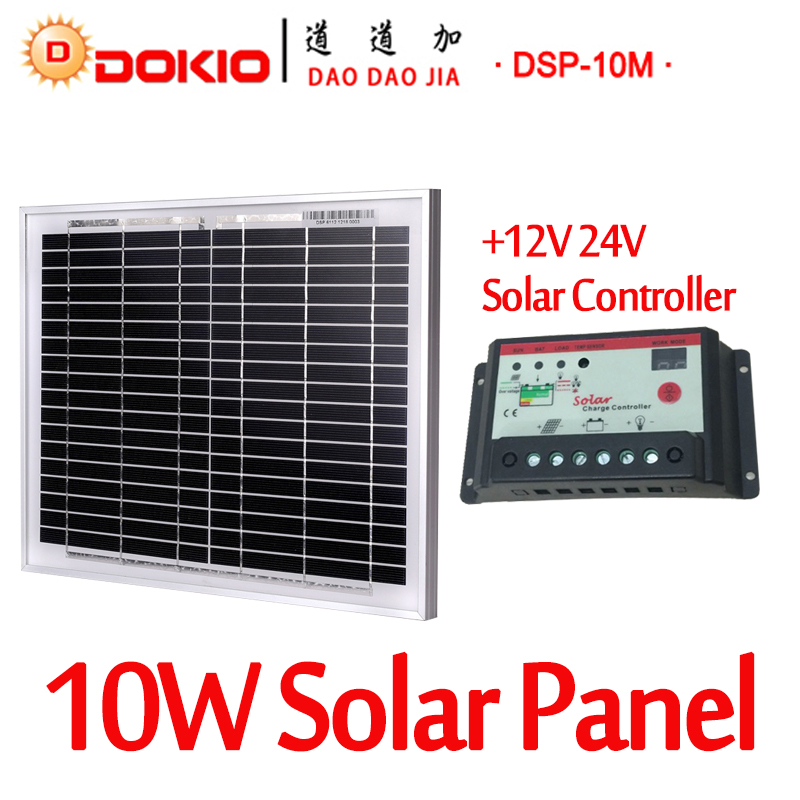 Dokio Brand 10W Black Solar Panel China + 10A 12V 24V Solar Controller 18V Panel Solar 10 Watt Charger Regulator Solar Battery free shipping 95 97 id 108672 108962 size eur 40 46