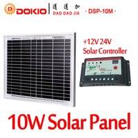Dokio Brand 10W Black Solar Panel China + 10A 12V 24V Solar Controller 18V Panel Solar 10 Watt Charger Regulator Solar Battery