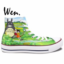 Wen Design Custom Anime Hand Painted Shoes My Neighbor Totoro Men Women's Green High Top Canvas Sneakers