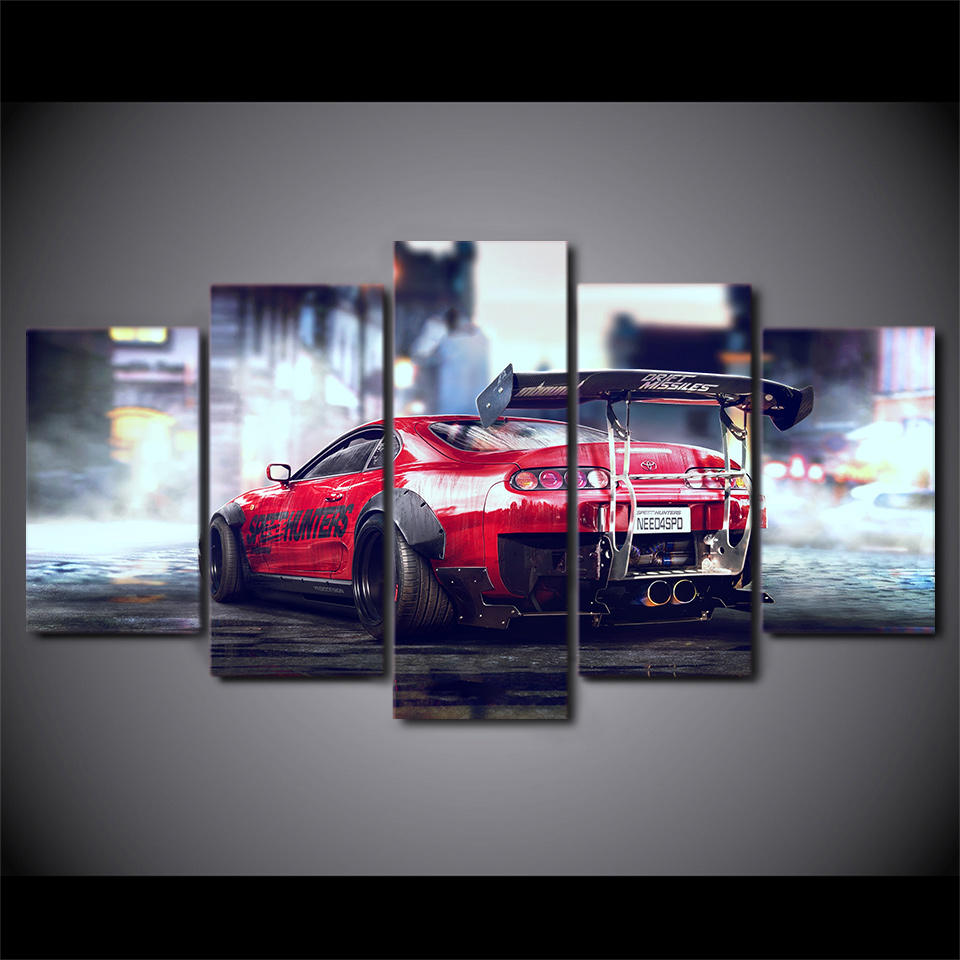 JIE DO ART 5 Panel Art Picture Red Sports Car Racing Canvas Pictures Poster  And Print Living Room Pictures Canvas Painting In Painting U0026 Calligraphy  From ...