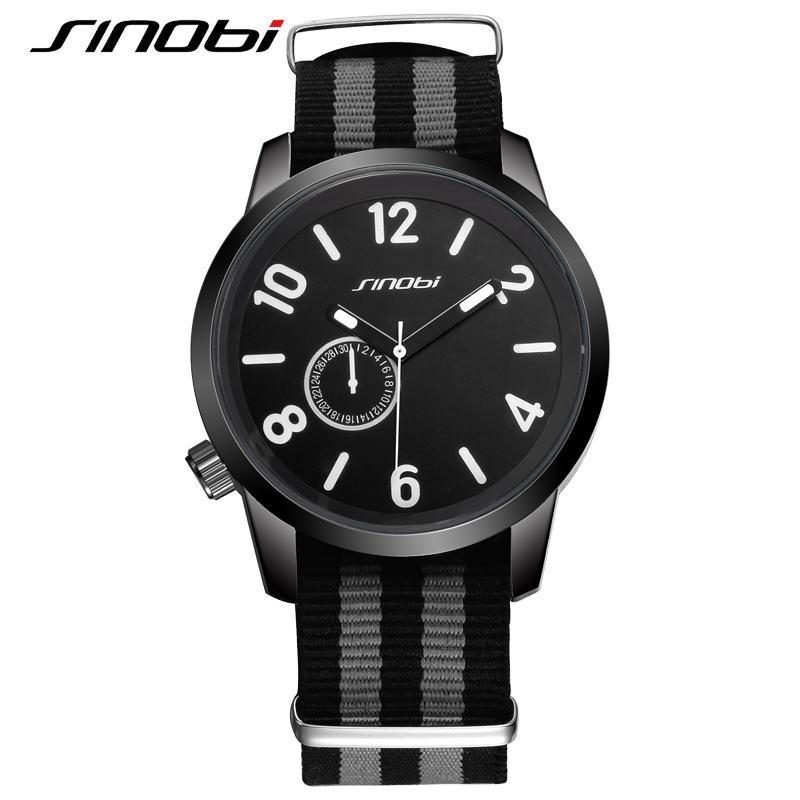 SINOBI Brand 2016 Sport Watches For Men Nylon band Quartz Wristwatches Fashion Luxury Watch Men Waterproof Relogio Masculino 2017 new top fashion time limited relogio masculino mans watches sale sport watch blacl waterproof case quartz man wristwatches