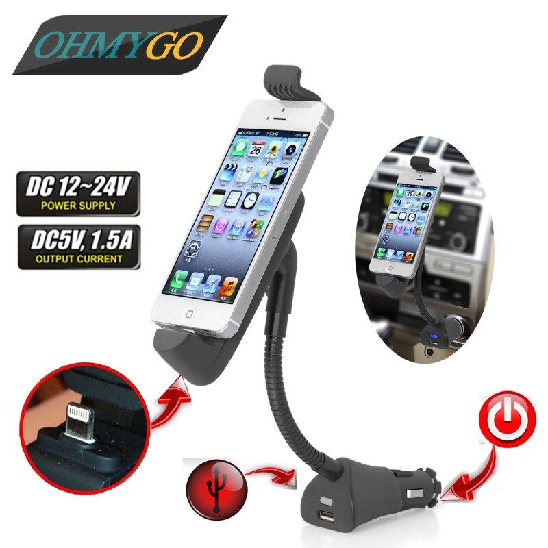 imágenes para 180 grados que giran el sostenedor del teléfono del coche con el Cargador USB para el iPhone 5 6 7 Cargador de Coche Soporte de Alta Calidad PC + ABS Negro Color