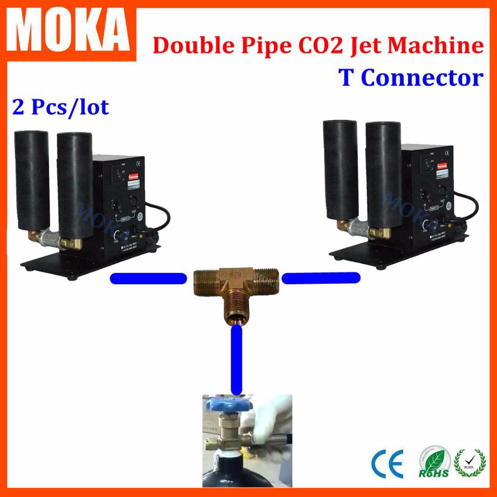 Stage Co2 Jet Machine Co2 Effect Smoke Machine 2pcs Double Nozzle Co2 Machine Share Tank With T-connector Brass Fitting