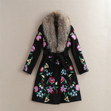 luxury fur collar turn down cartoon flowers embroidery wool coats 2017 high quality fashion runway jackets D269