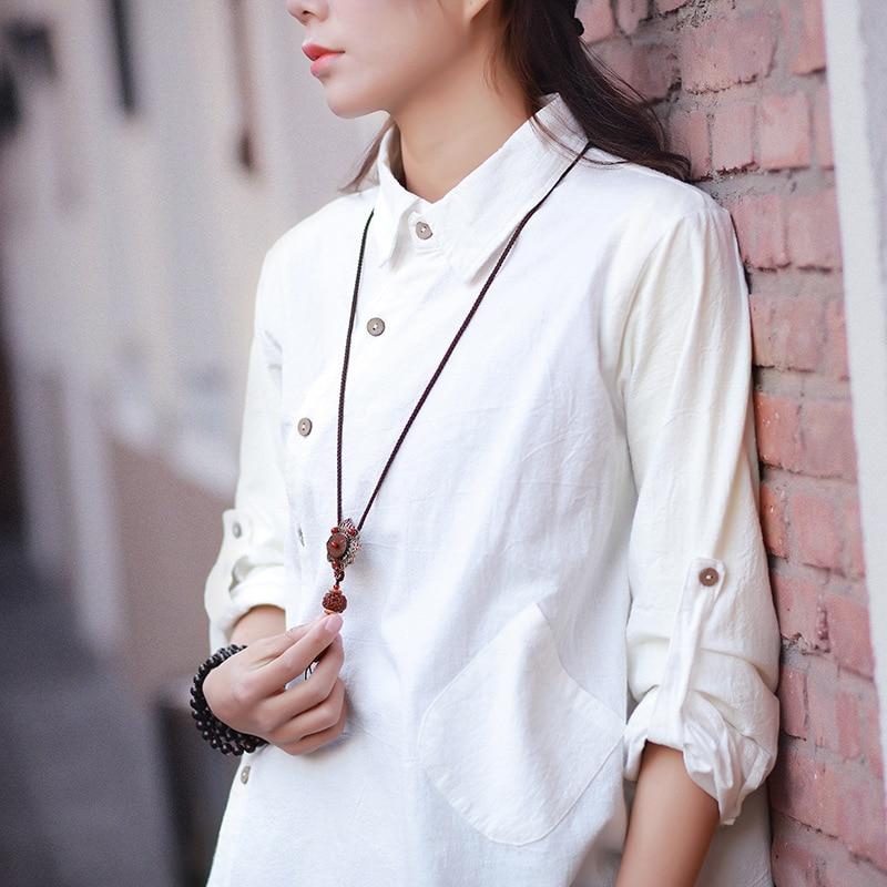 Women Cotton Linen Irregular Hem Shirts Ladies Long Sleeve Loose Blouse Solid Color Single Breasted Shirts 2017 Spring Summer 9