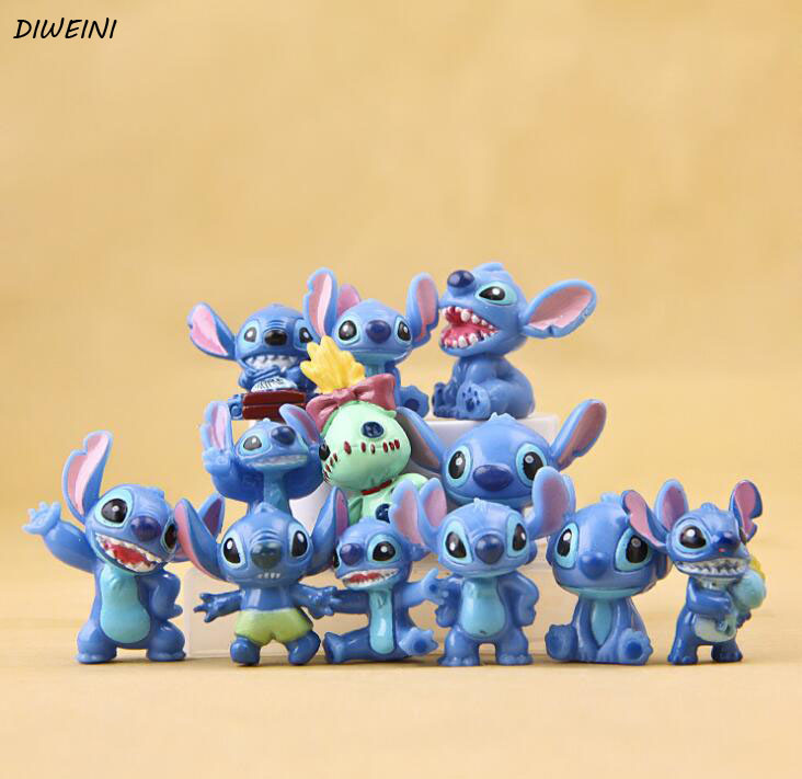 12 Pcs/set Cute Lilo Stitch Mini Figures PVC Action Figure Toy Miniature Toys Adorable Collectible Model For Children Gift lps toy pet shop cute beach coconut trees and crabs action figure pvc lps toys for children birthday christmas gift