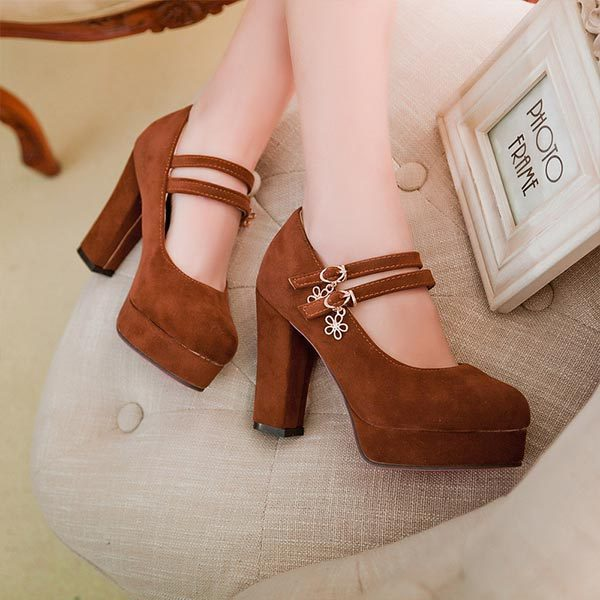 2015 New spring and autumn high-heeled shoes thick heel princess velvet platform women pumps fashion Mary Jane single shoes V748