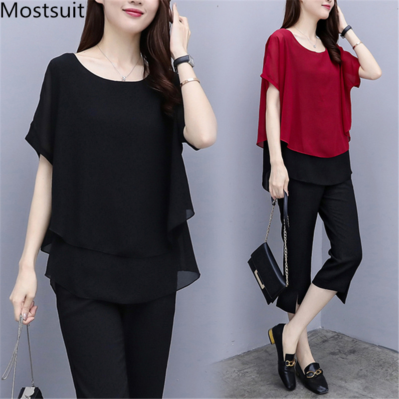Black Red Summer Two Piece Sets Women Plus Size Short Sleeve Blouses And Cropped Pants Suits Casual Loose Women's Sets Clothing 31