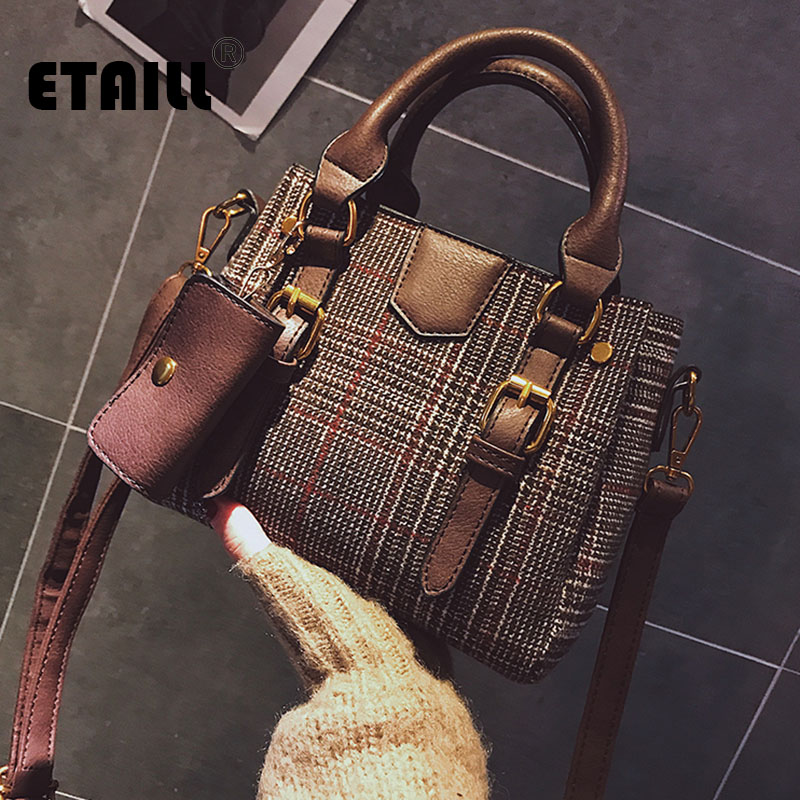 255a0c33e8c ETAILL Winter Wool Shoulder Bag Luxury Handbags Women Designer High Quality  Ladies Hand Bags Female Plaid Casual Composite Bags-in Shoulder Bags from  ...