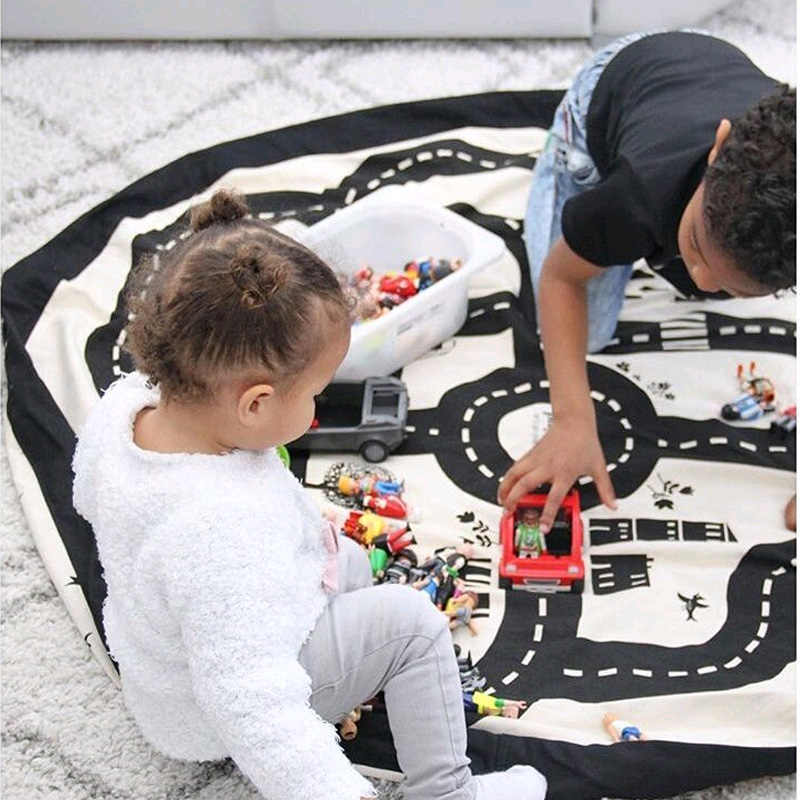 Baby Toys Kid Play Game Mat Floor Round Carpet Rug For Children Educational Toys Organizer Buggy Bag Pouch Baby Crawling Blanket