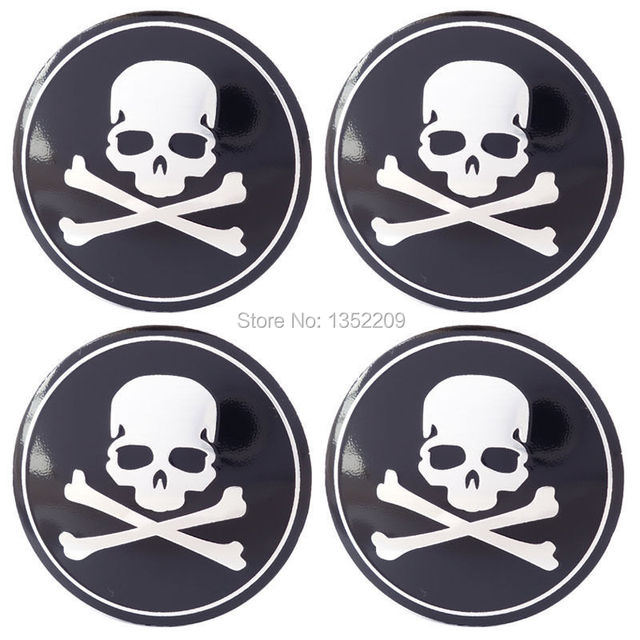 40pcs Wholesale 56mm Skull Logo Car Wheel Sticker Cap Coveremblem