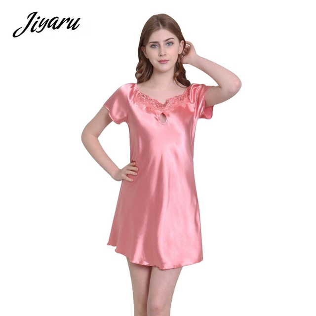 Girls Summer Night Dress Silk Satin Nightdress Night Gown Sexy Lace  Nightgown Nightwear Soft Home Clothing 1a0d6dca0
