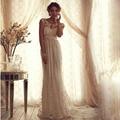 Сексуальные кружева платье-линии чистой кружева спинки империи летний пляж винтаж свадебные платья с аппликациями створки с бантом