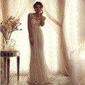 Sexy de encaje una línea de encaje sin espalda pura Empire Beach Summer Vintage Wedding Dresses con apliques Sash Bow