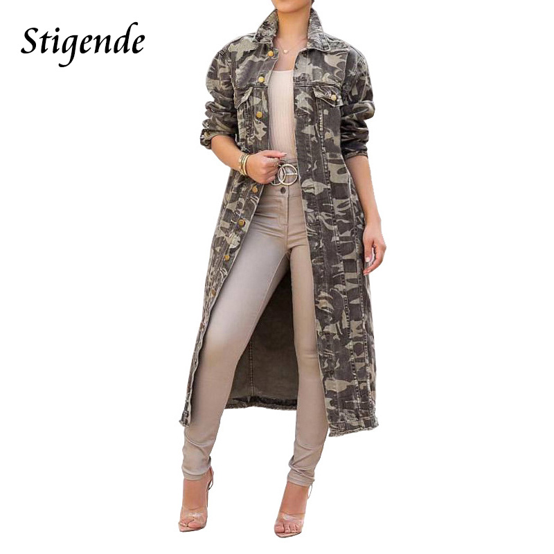 Stigende Women Camouflage Print Turn Down Collar   Trench   Femme Autumn Casual Long Top Outwear Long Sleeve Button   Trench   Coat