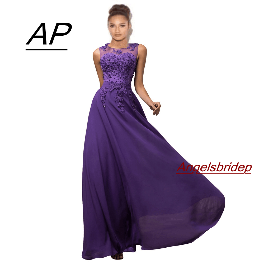 Prom-Gowns Beading Evening-Dresses ANGELSBRIDEP Party Chiffon Formal Long Plus-Size Robes-De-Soiree