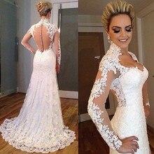 Vestidos De Noivas 2016 Sexy Long Sleeve See Through Lace Appliqued Sheath Wedding Dress