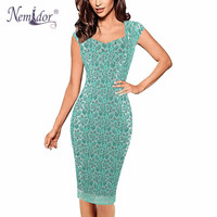 Nemidor Women Patchwork Stratchy Work Office Bodycon Dress Sleeveless Lace Casual V Neck Vintage Dress