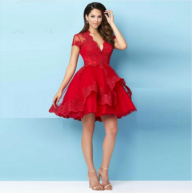 0a22aa4c12 2016 V Neck A Line Short Cocktail Dresses Lace Appliques Sheer Short Sleeve  Fashion Red Elegant Girls Special Party Dress Gowns-in Cocktail Dresses  from ...