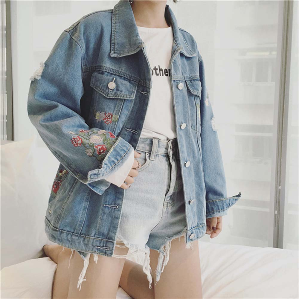 Flower Embroidery Women   Basic     Jackets   Coats 2018 Spring Jeans   Jacket   Women Denim Outwear Women 2018 fashion brand New Spring