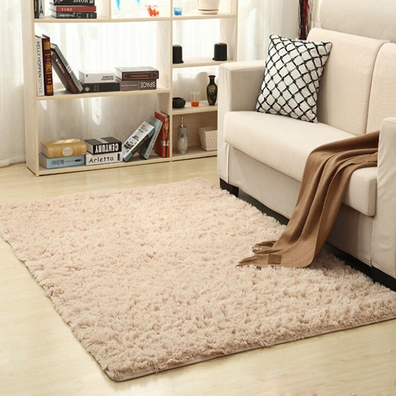 Super Soft Silk Wool Rug Indoor Modern Thicken Shag Area Rug Silky Rugs Bedroom Floor Mat Yoga Carpet Baby Nursery Rug
