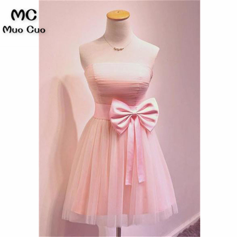 Cute 2018 A-Line Strapless Homecoming dress short with Bow Pleat Tulle cocktail party dress short homecoming dress
