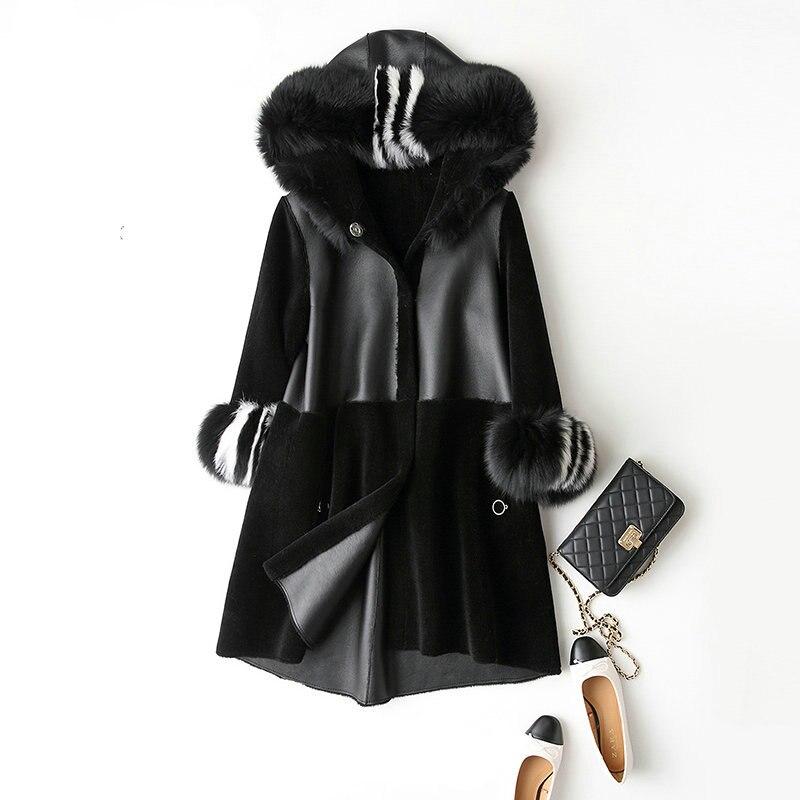 Мутон пальто женский пиджак Для женщин куртка пальто с мехом шерстяное пальто Для женщин зимние куртки с натуральным мехом Для женщин Мехов...